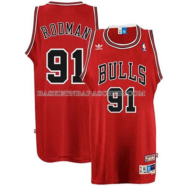 b023f2566f18f Maillot de basket nba Retro Chicago Bulls Rodman Rouge pas cher ...